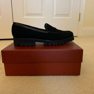Donald Pliner Black Calf Leather Loafers